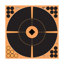 "EZ Aim Adhesive Splash Reactive Paper Shooting Targets, Crosshair Bullseye, 12""W x 12""H, 12-Pack, Black/Orange"