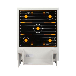 "EZ-Aim Adhesive Splash Reactive Paper Shooting Targets Kit & Target Stand, 12"" Square Sight-In Grid Targets, 3-Pack, 13.5""W x 17.5""H Target Stand, Black/Orange/White"