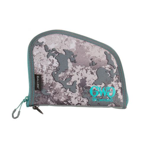 "Girls With Guns 8"" Lockable Compact Handgun Case, Gray/Teal/Shade Camo"