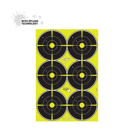 "EZ Aim Splash Reactive Paper Shooting Targets, Bullseye, 6 Targets Per Sheet, 12.5""W x 18.25""H, 100-Pack, Black/Chartreuse"